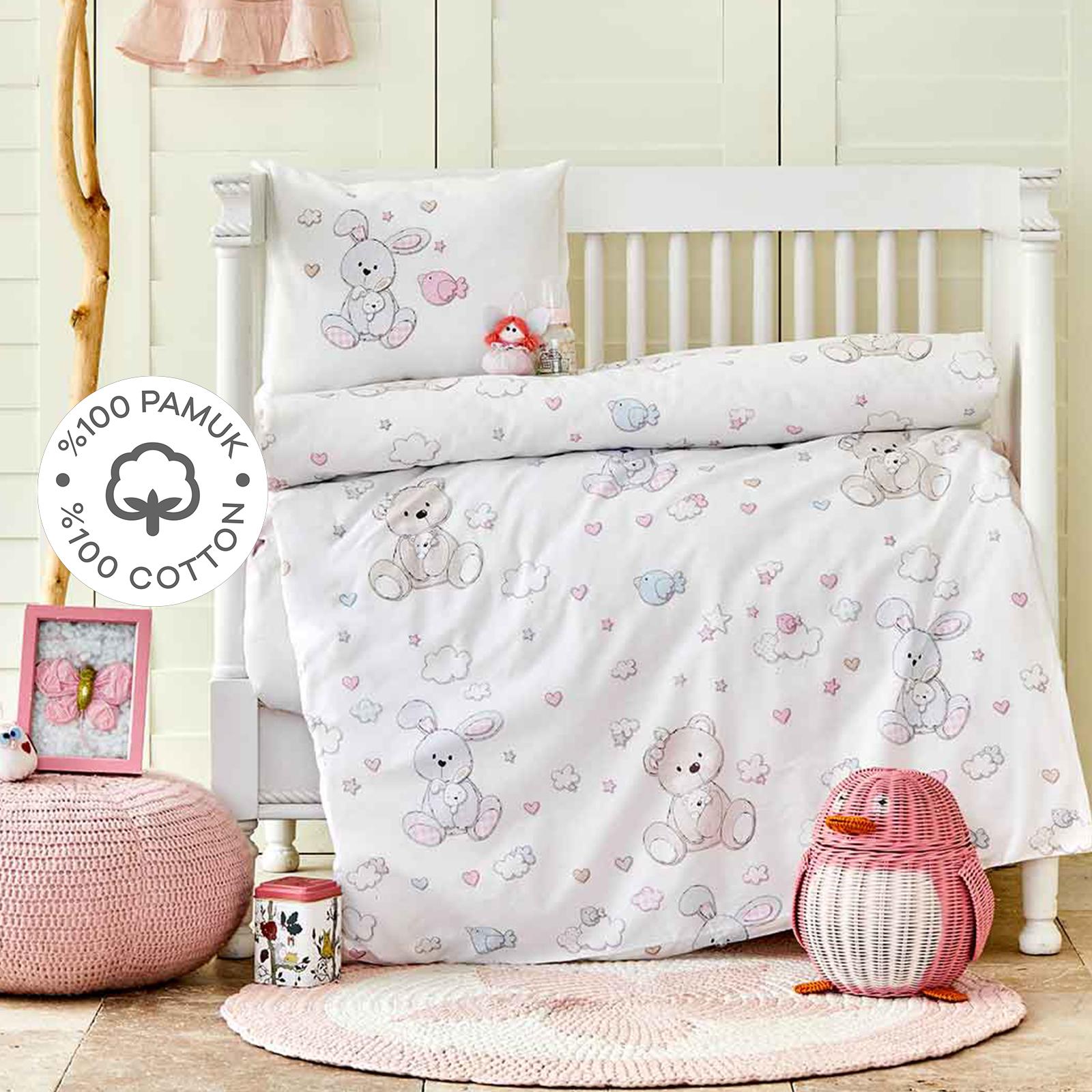 Karaca Home Honey Bunny Pembe %100 Pamuk Bebek Nevresim Takımı
