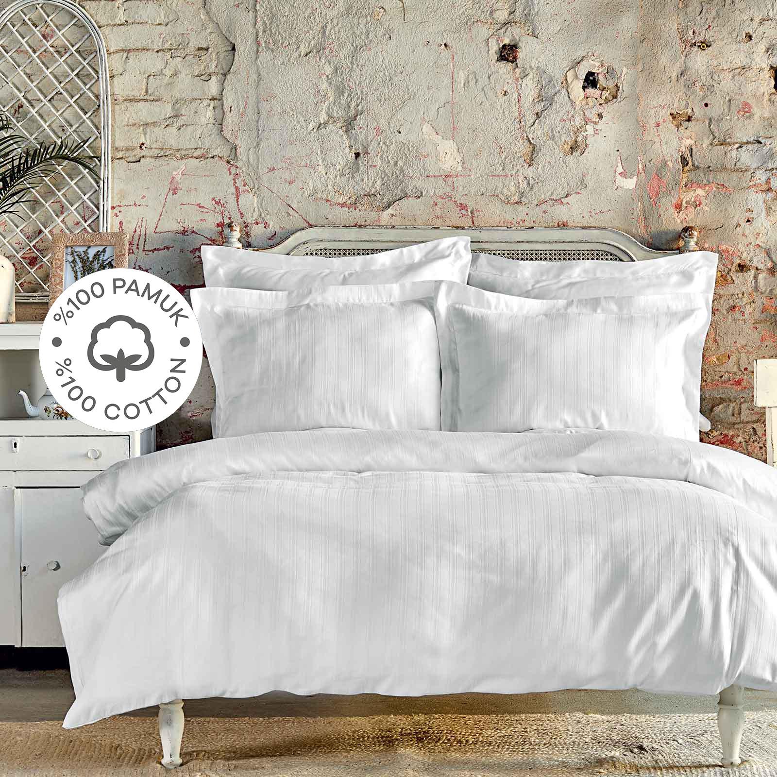 Karaca Home Charm Bold Beyaz %100 Pamuk Tek Kişilik Nevresim Takımı
