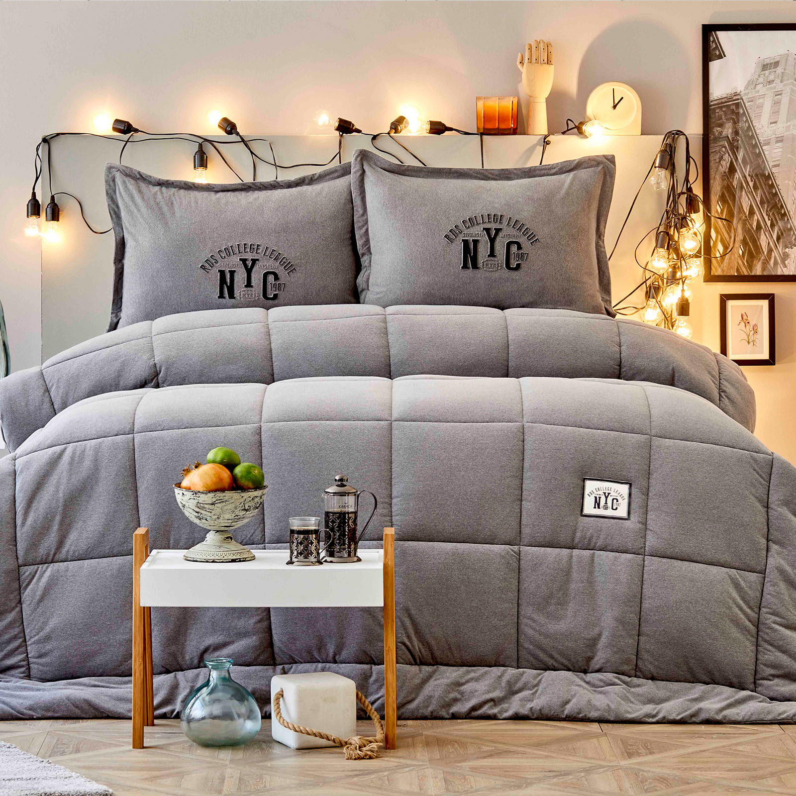 Karaca Home Toffee Gri Çift Kişilik Cotton Comfort Set