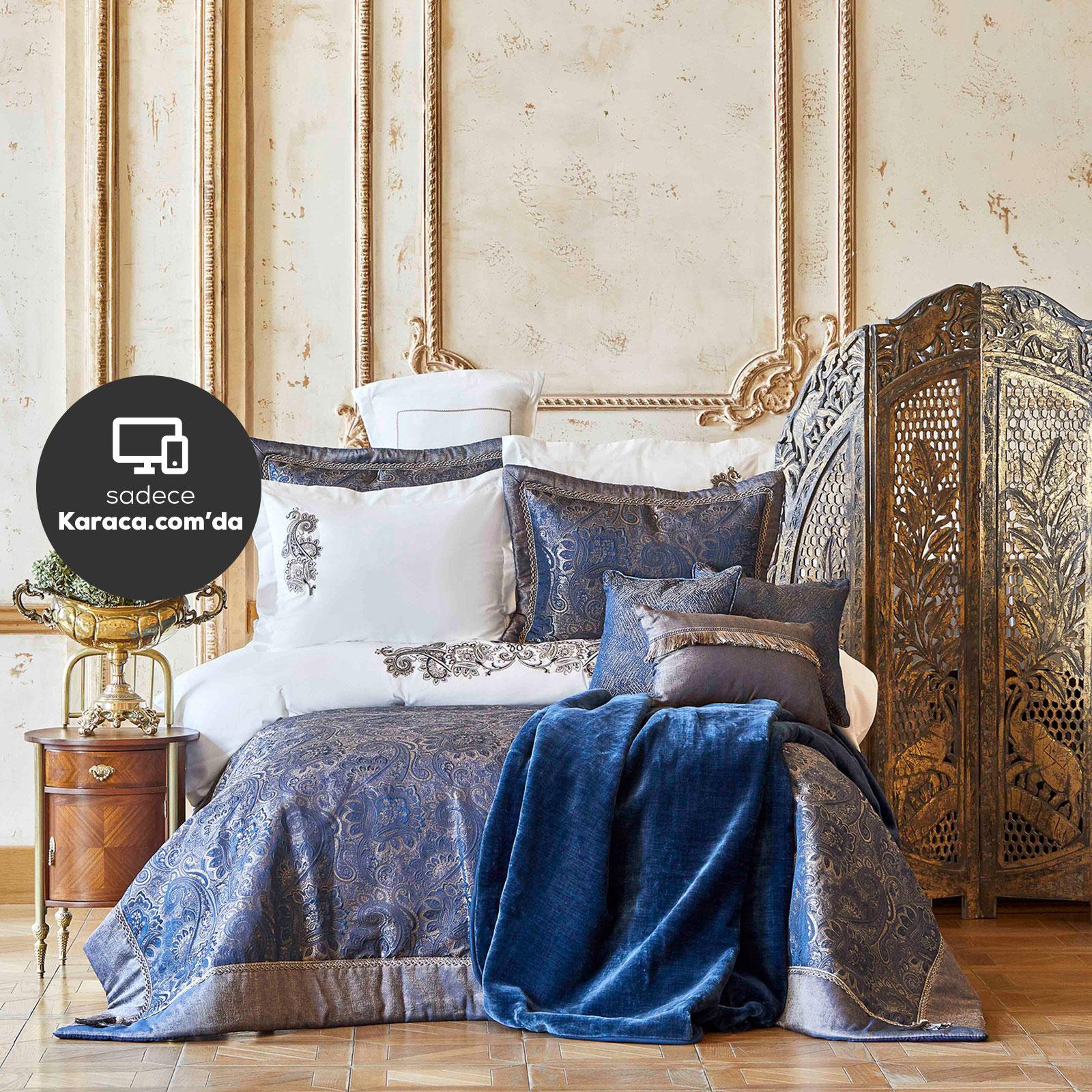 Karaca Home Venita Lacivert 6 Parça İpek Yatak Örtüsü