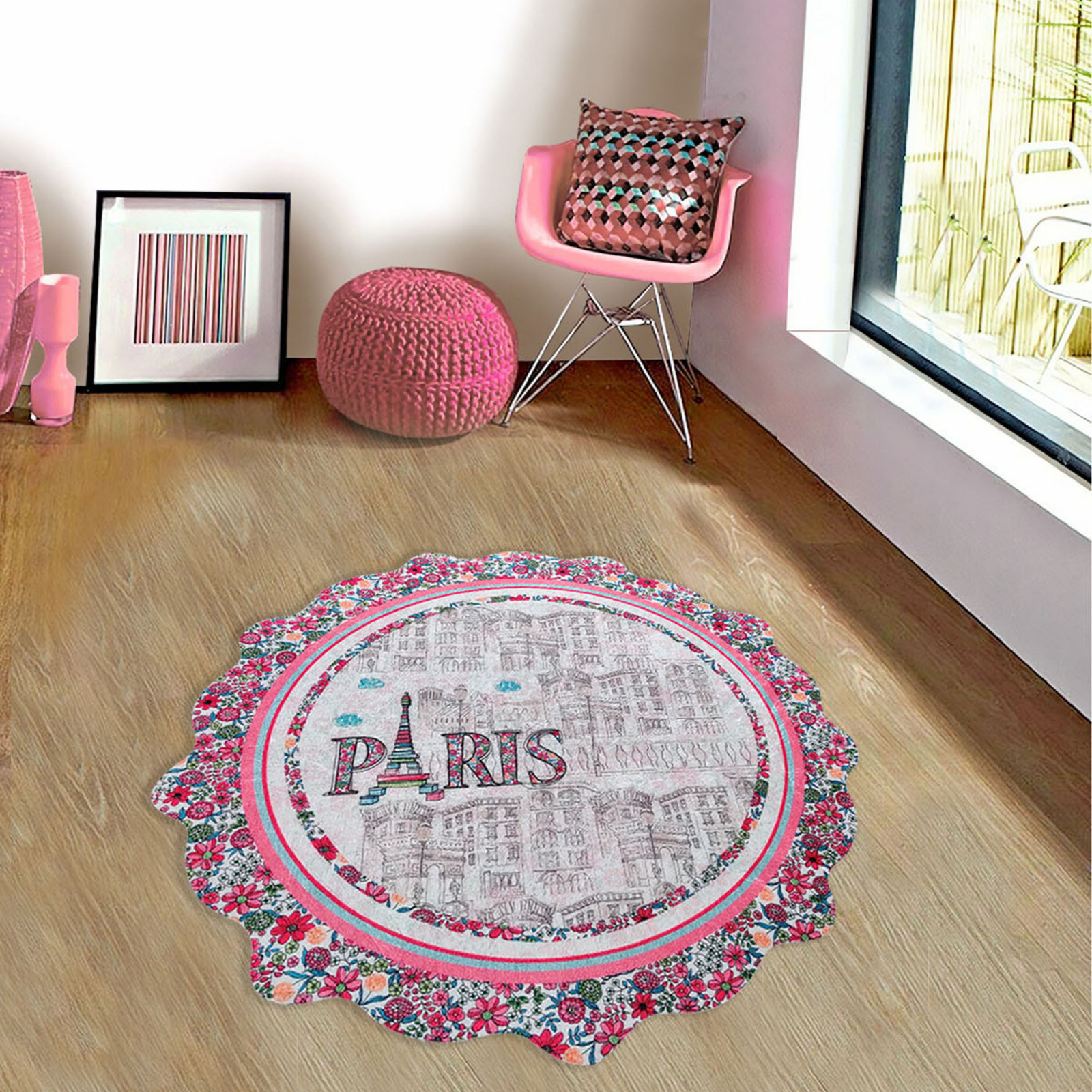 Karaca Home Circle Genç Paris Baskılı Halı 100x100cm