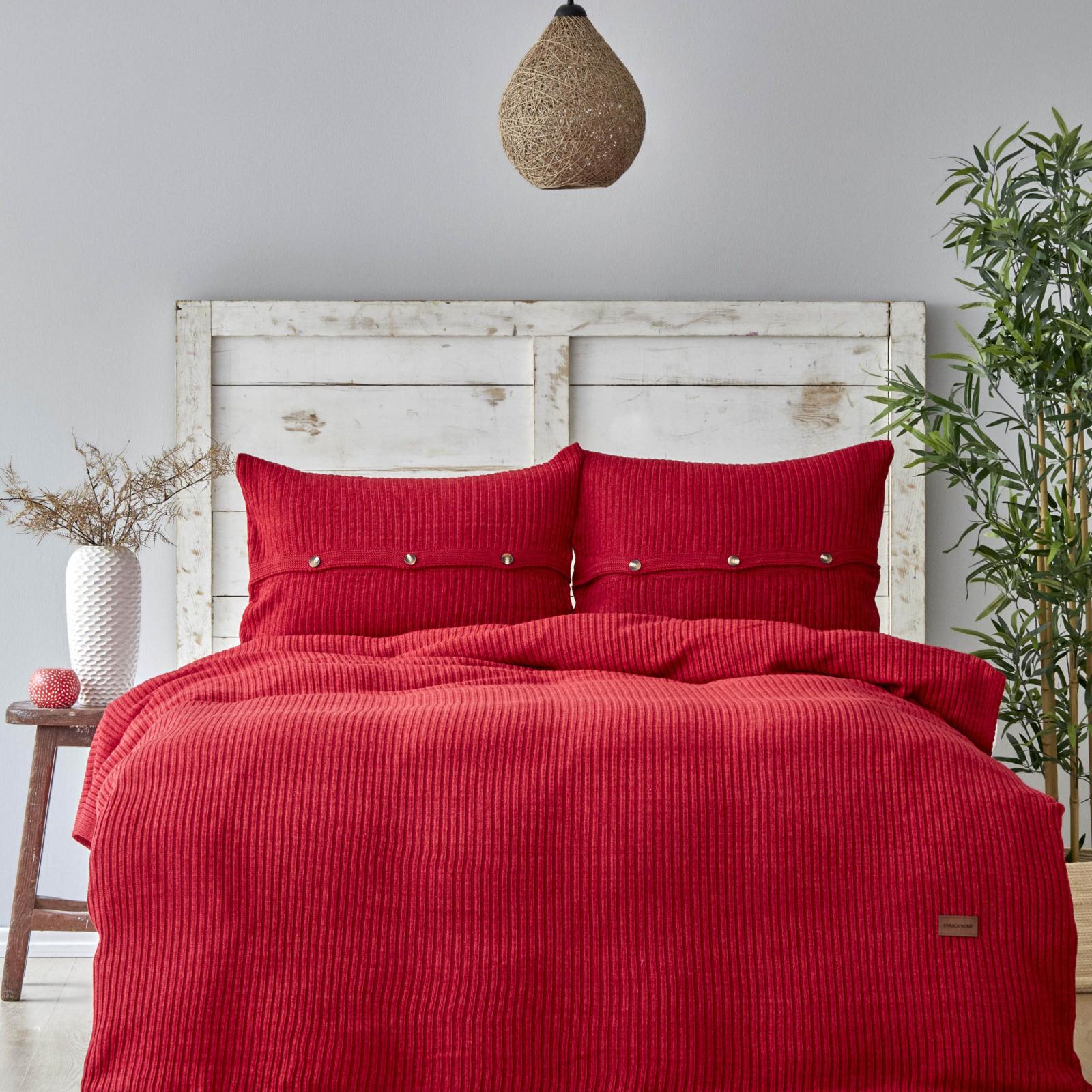 Karaca Home Coline Kırmızı Tek Kişilik Triko Yatak Örtüsü Seti