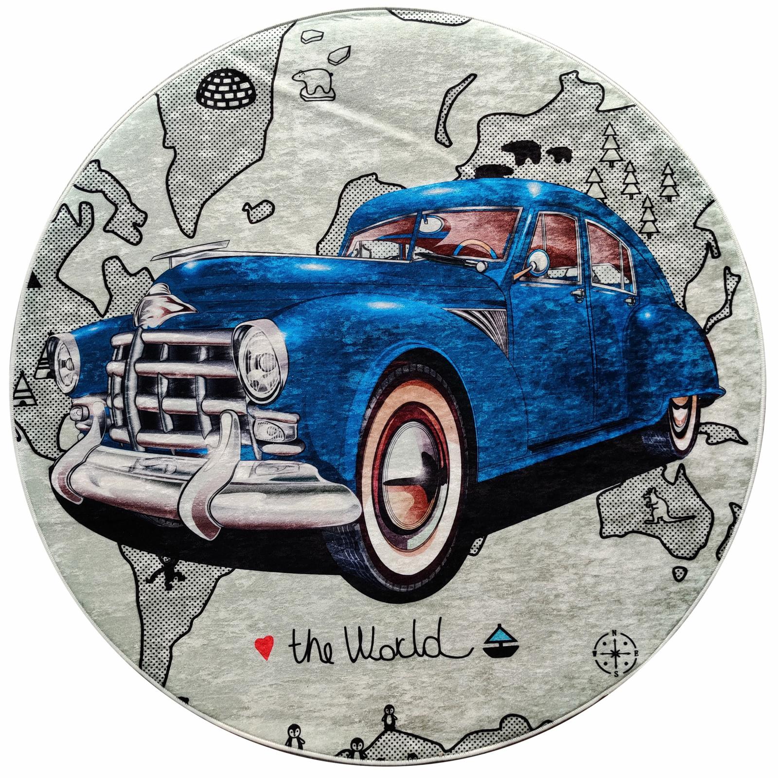 Karaca Home Circle Genç Bluecar Baskılı Halı 100x100cm