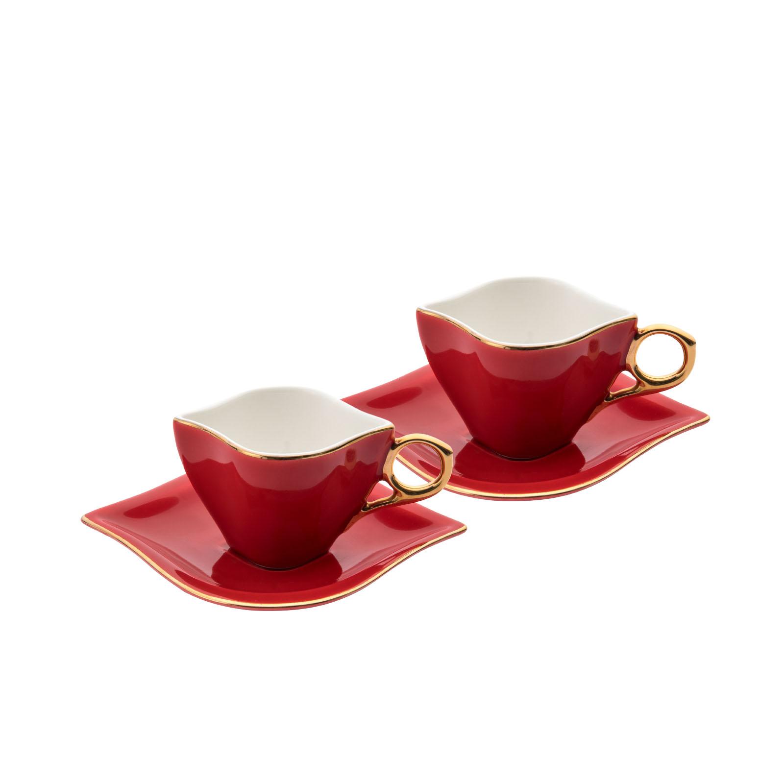 Emsan Sonsuz Aşk 2 Kişilik Kahve Fincanı Takımı Kırmızı