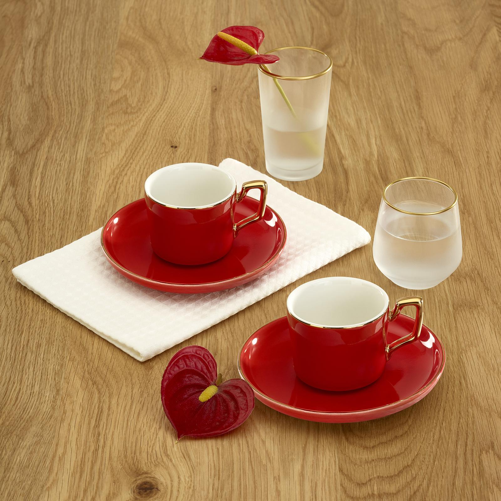 Emsan Kayra Kırmızı 2 Kişilik Kahve Fincan Takımı