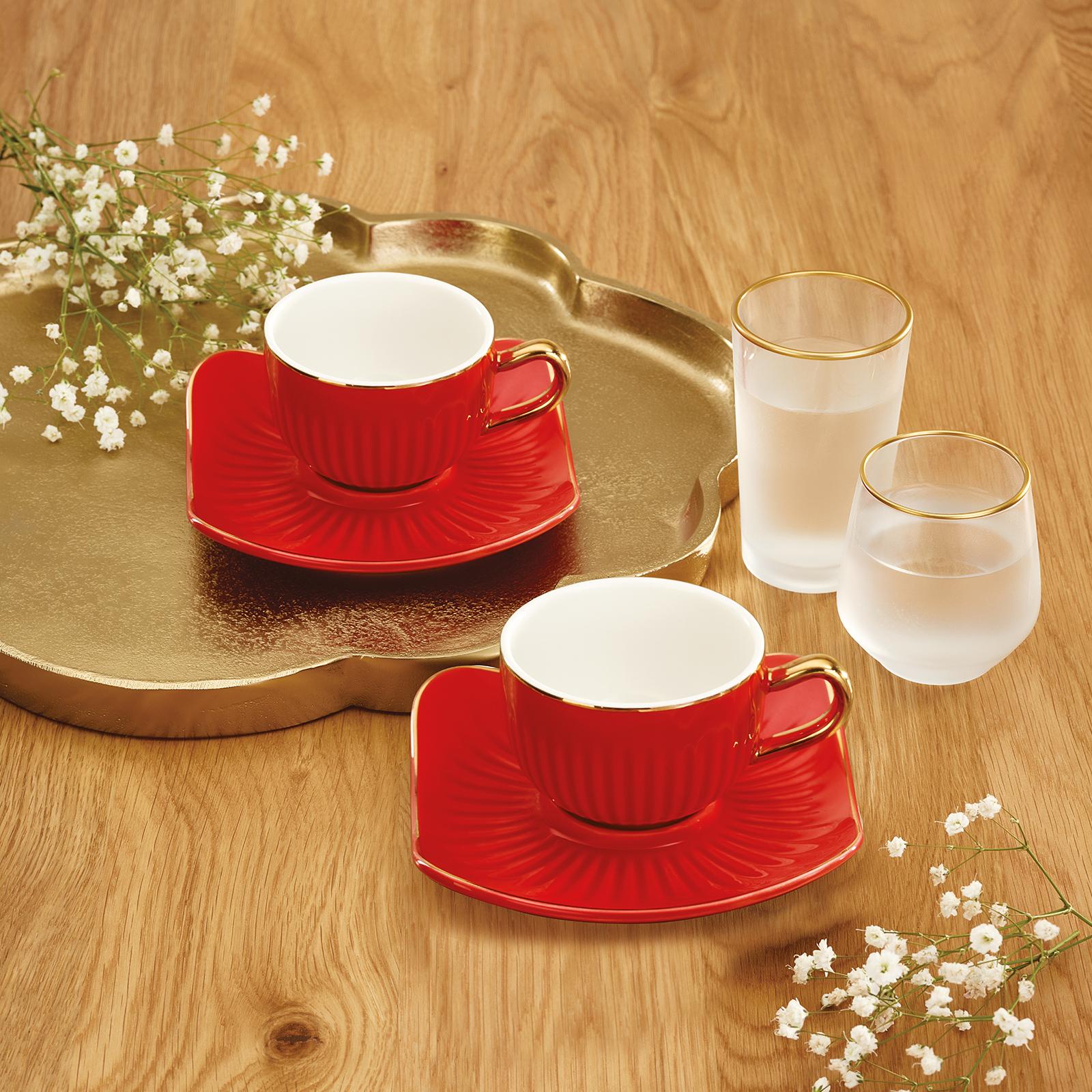 Emsan Nasip Kırmızı 2 Kişilik Kahve Fincan Takımı