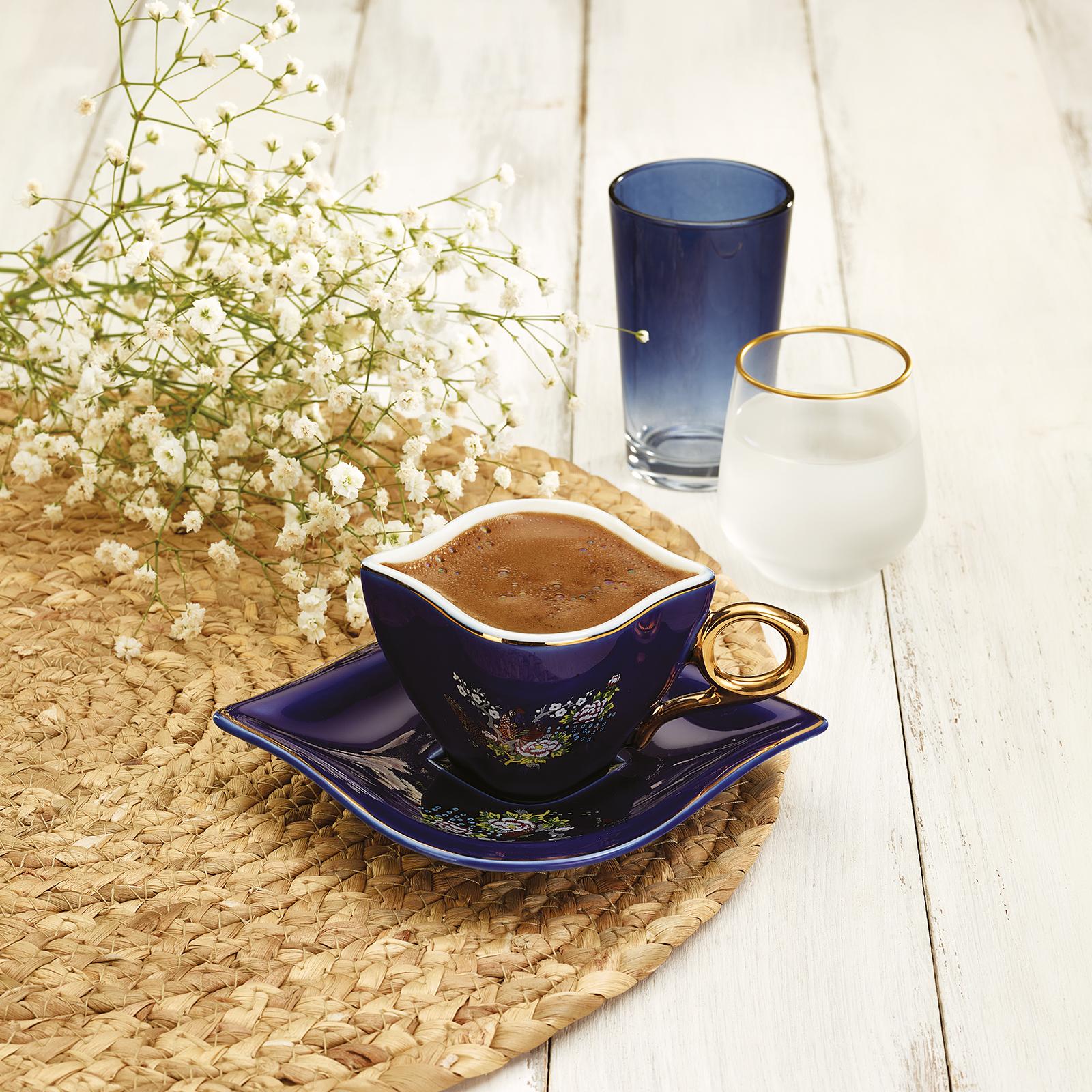 Emsan Sonsuz Aşk Kobalt 1984 2 Kişilik Kahve Fincanı Takımı
