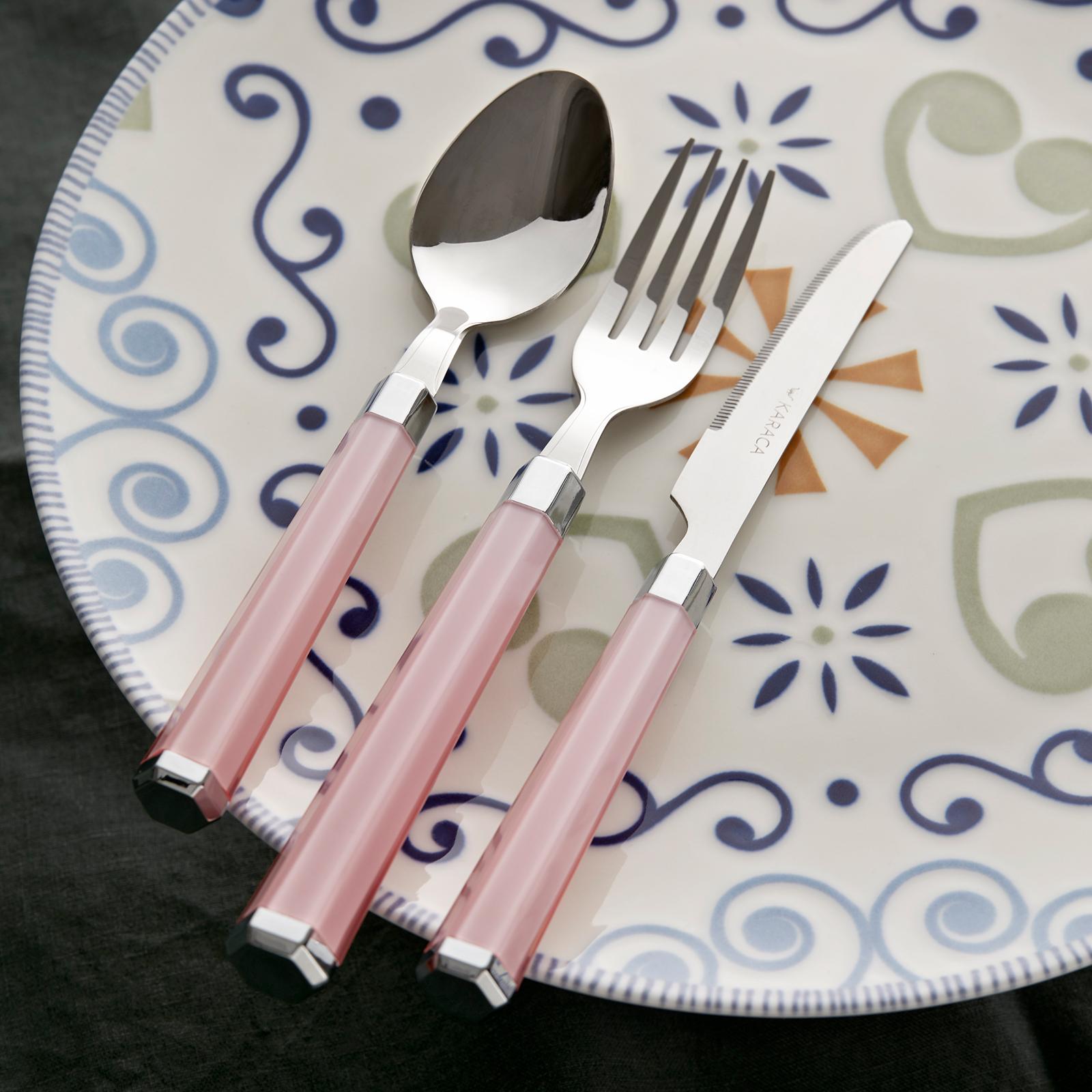 Karaca Freya Pembe 18 Parça 6 Kişilik Çatal Kaşık Bıçak Seti