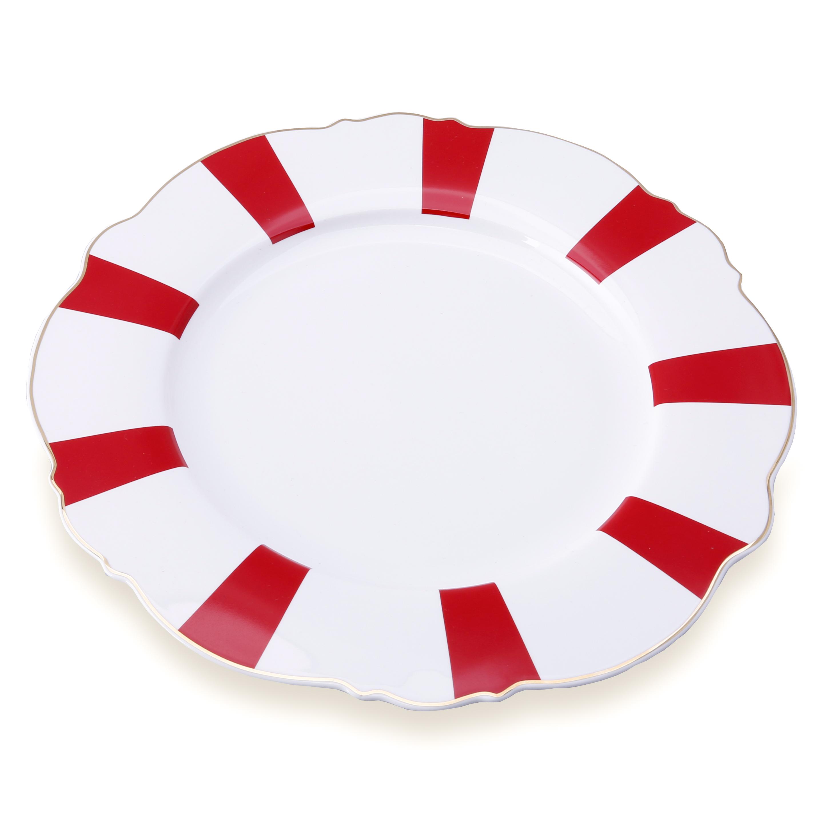 Karaca Romantic Servis Tabağı Kırmızı Çizgili