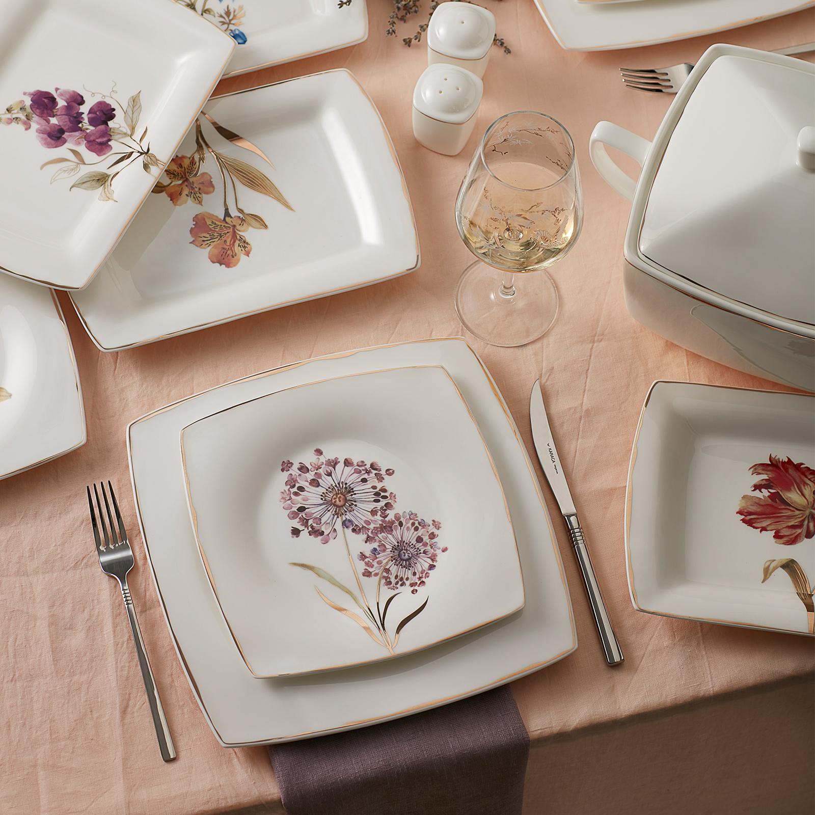 Karaca Fine Pearl Revive 62 Parça 12 Kişilik Kare İnci Yemek Takımı