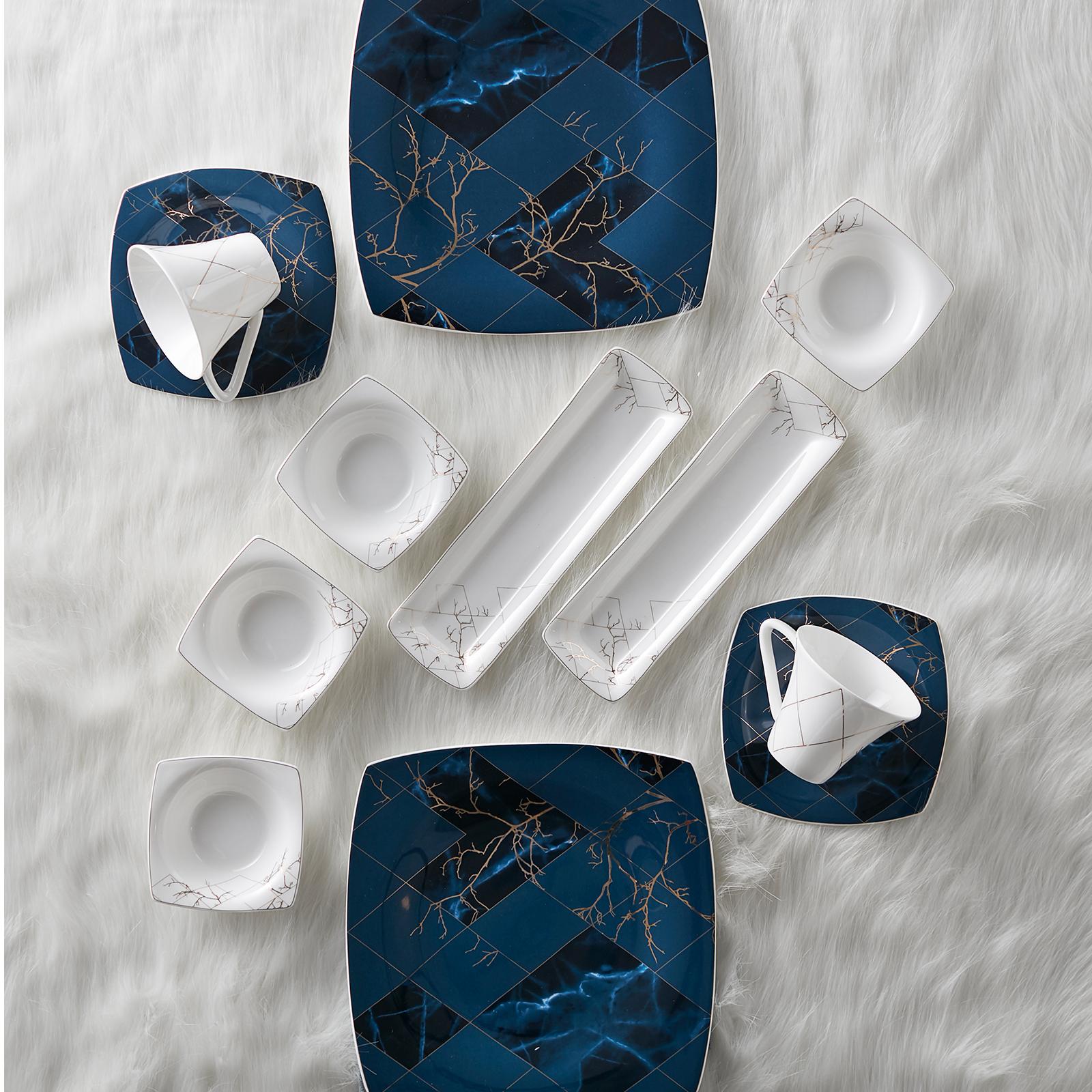 Karaca Fine Pearl Midnight 26 Parça 6 Kişilik İnci Kahvaltı Seti Kare