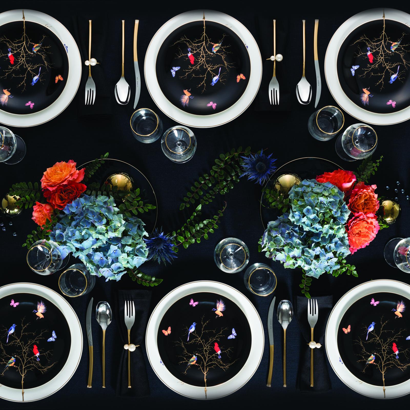 Karaca Fine Pearl Grace Black 58 Parça 12 Kişilik İnci Yemek Takımı