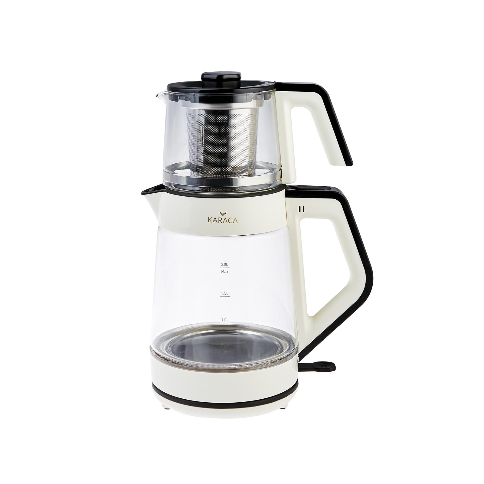Karaca Retro Krem Cam Led Işıklı Çay Makinesi