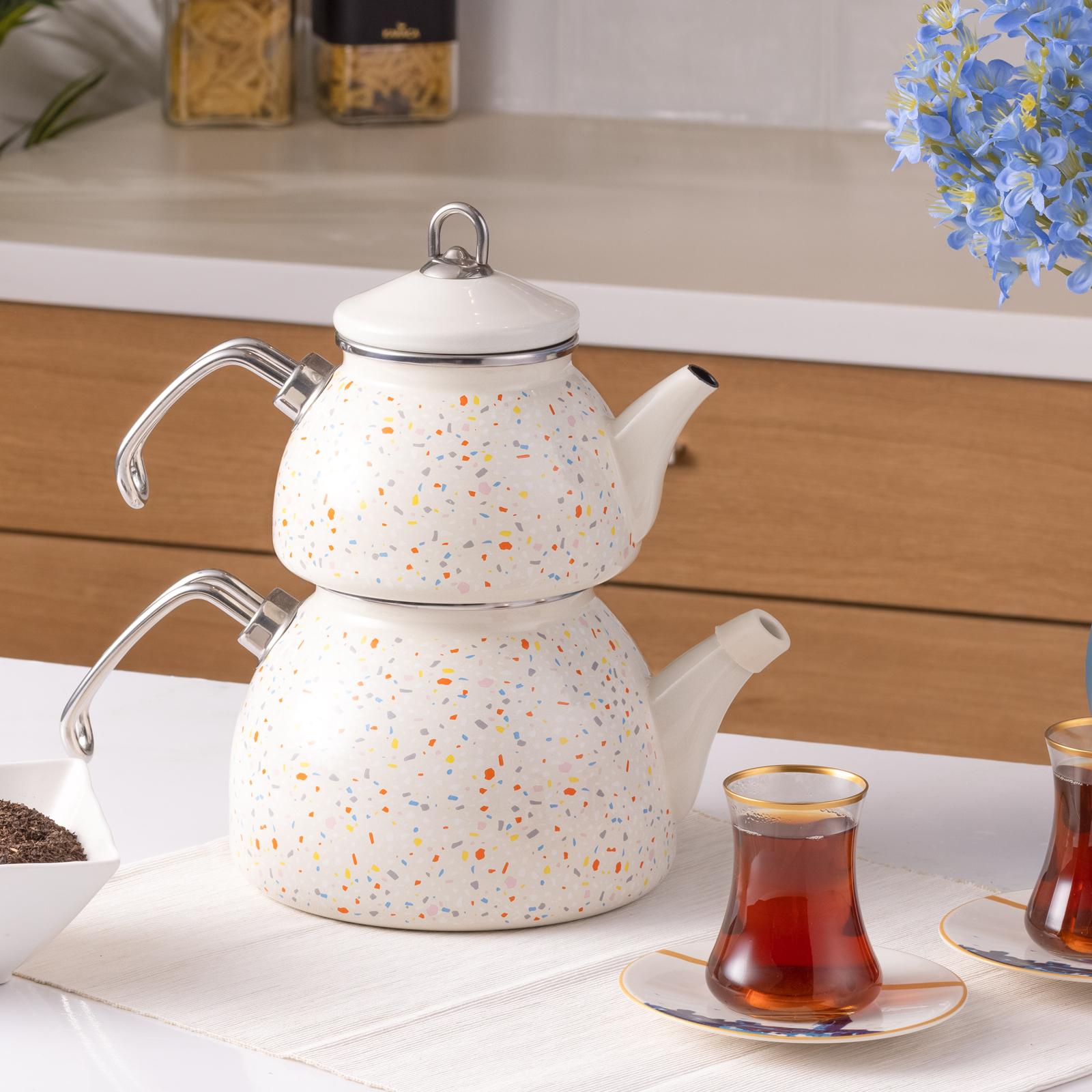 Karaca Emaye Terazzo Krem Çaydanlık Takımı