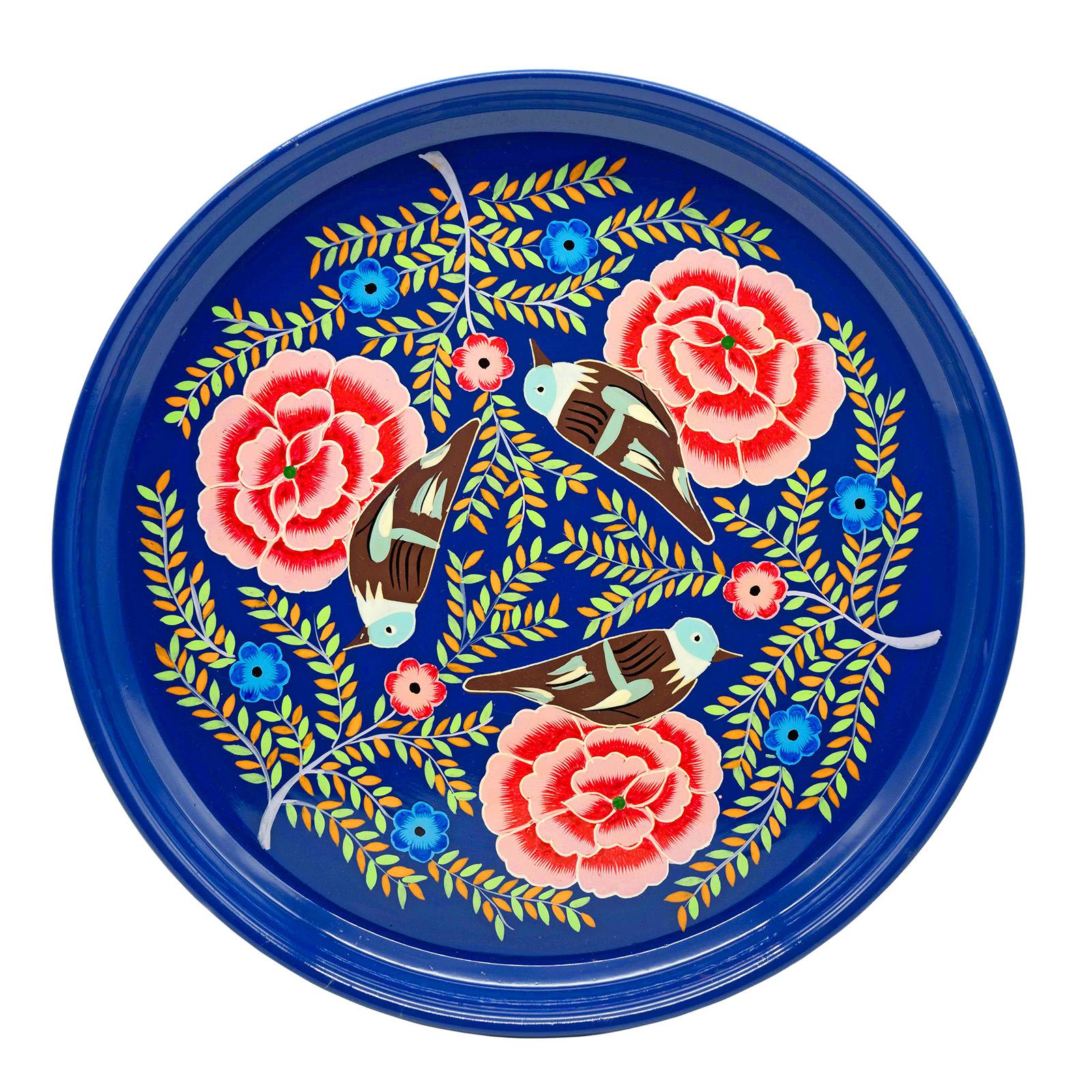 3rd Culture 3rd-2069 Kuşlu Lacivert Tepsi