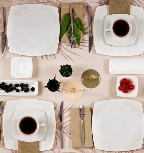 Karaca Fine Pearl Valentina 26 Parça 6 Kişilik Kare İnci Kahvaltı Takımı