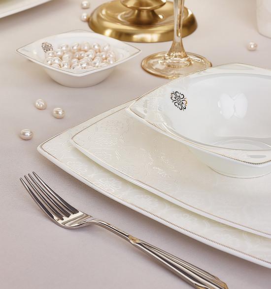 Karaca Fine Pearl Hailey 62 Parça İnci Yemek Takımı