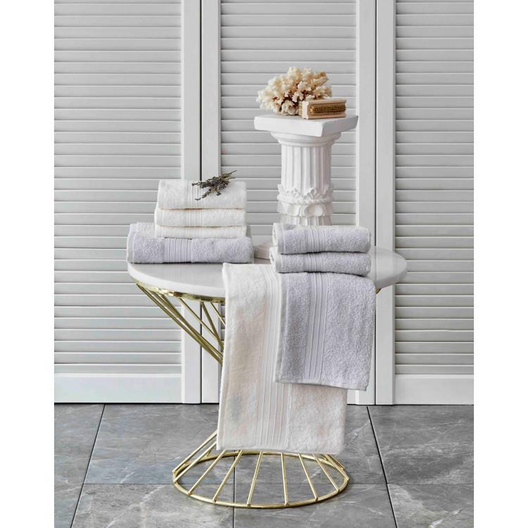 Karaca Home Delora Beyaz/Gri 8 Parça Havlu Seti