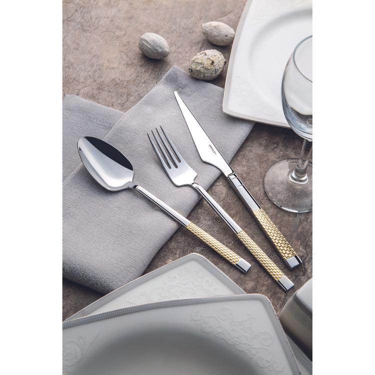 Emsan Elegance Side Gold 84 Parça 12 Kişilik Lüks Kutulu Çatal Kaşık Bıçak Takımı