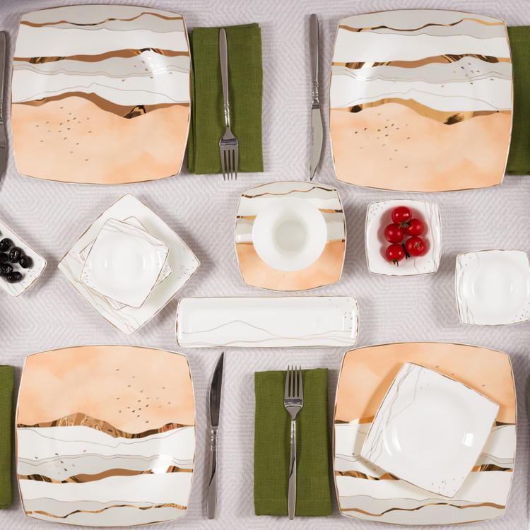 Karaca Fine Pearl Ocaso 26 Parça 6 Kişilik Kare Kahvaltı Takımı