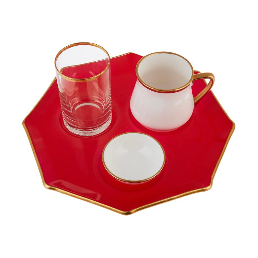 Emsan Mila 4 Parça Sekizgen Kahve Sunum Seti Kırmızı