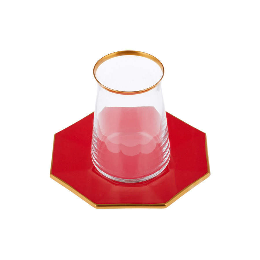 Emsan Mila 12 Parça Sekizgen Çay Seti Kırmızı