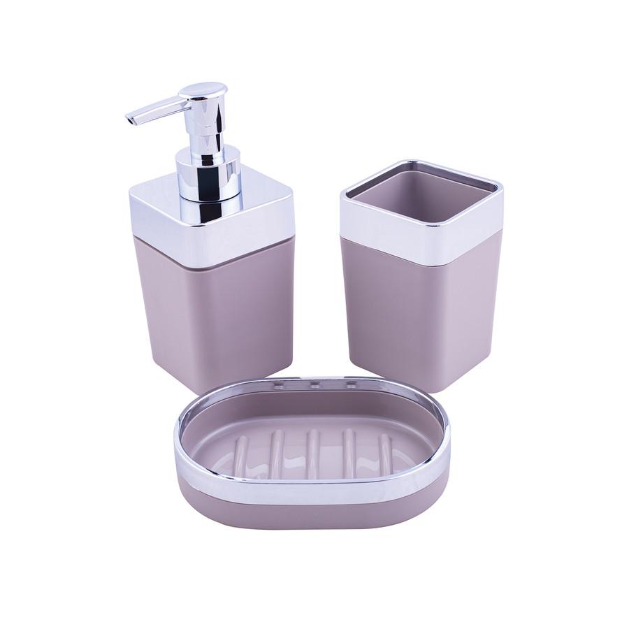 Karaca Home Gri/Gümüş 5 Parça Kare Banyo Seti