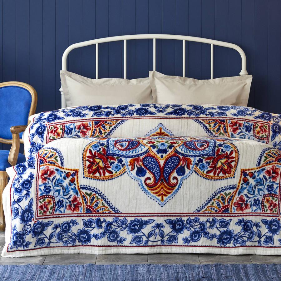 Karaca Home Leony Mavi Çift Kişilik Wellsoft Battaniye