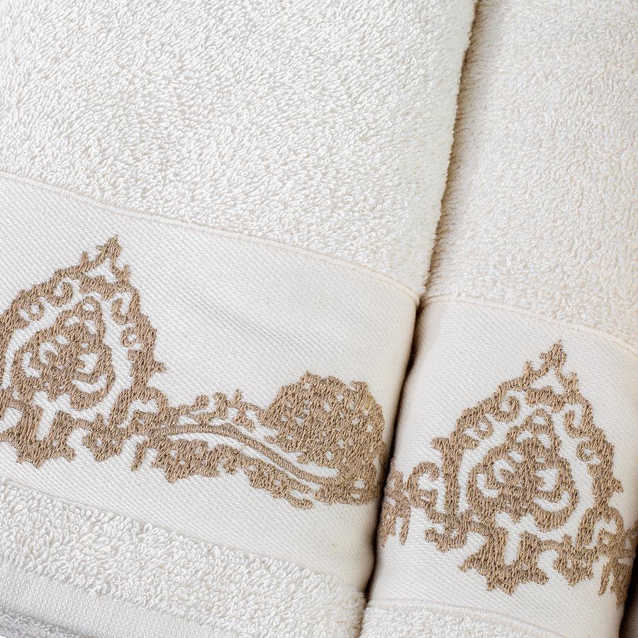 Karaca Home Eldora Simli Nakışlı Offwhite/Bej Hamam Seti