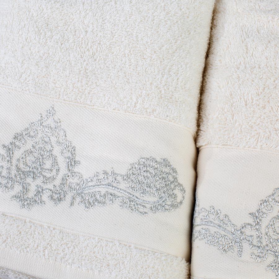 Karaca Home Eldora Simli Nakışlı Offwhite/Mavi Hamam Seti