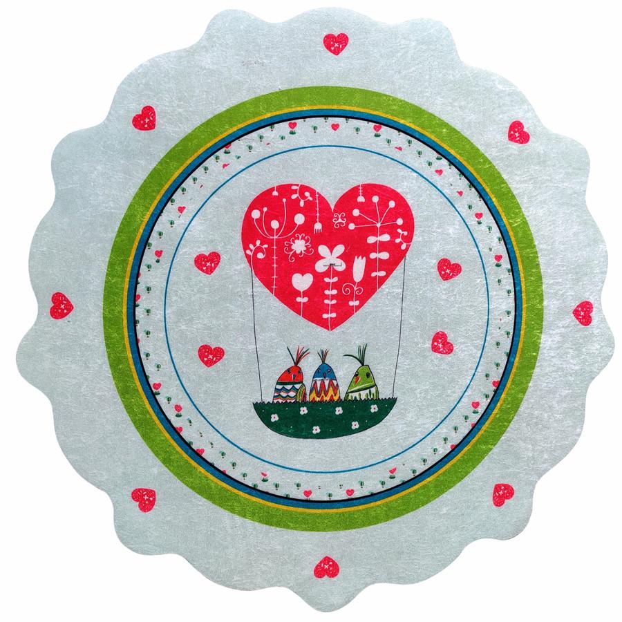 Karaca Home Circle Genç Heart Baskılı Halı 100x100cm