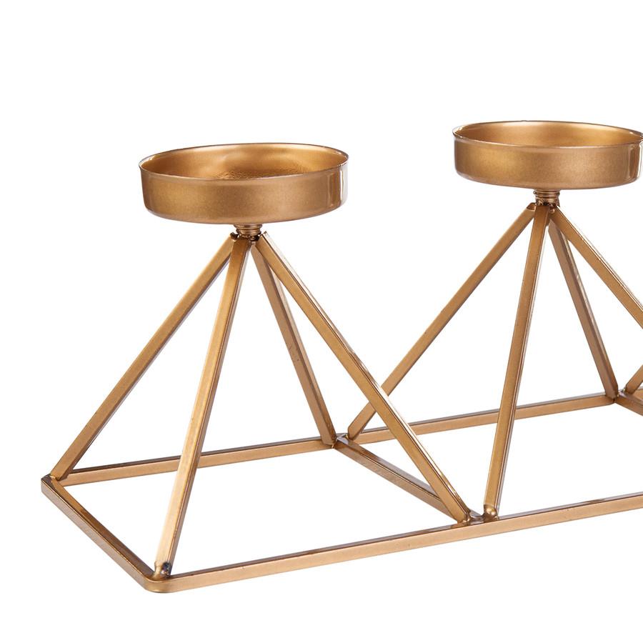 Karaca Home Geometri 3'lü Mumluk Gold 36x13cm