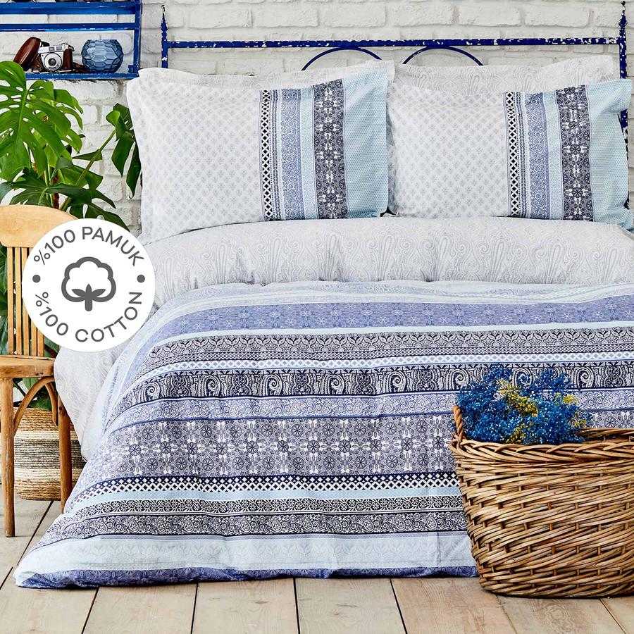 Karaca Home Nileso Mavi %100 Pamuk Çift Kişilik Nevresim Takımı