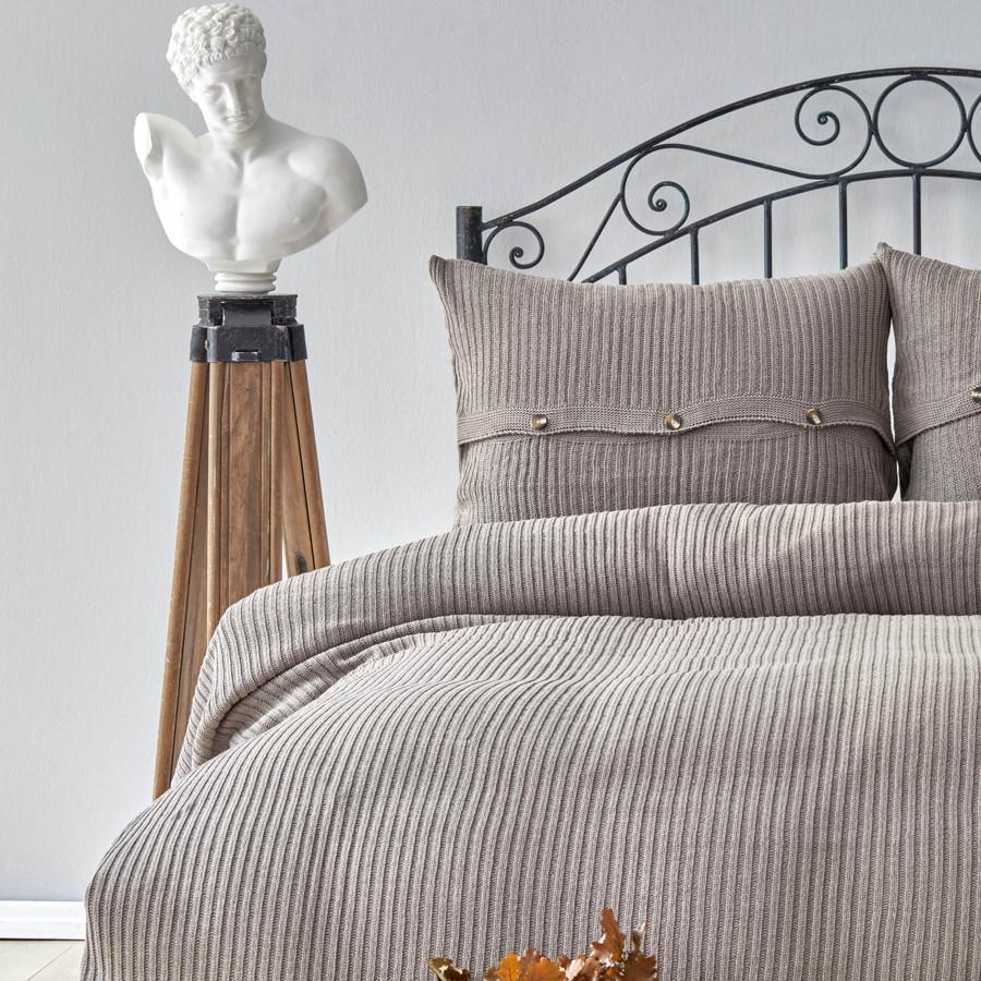Karaca Home Coline Bej Tek Kişilik Triko Yatak Örtüsü Seti