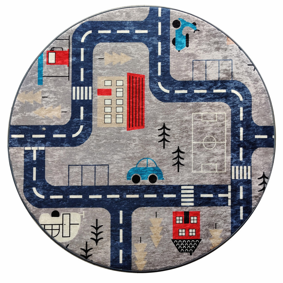 Karaca Home Circle Genç Traffic Baskılı Halı 100x100cm