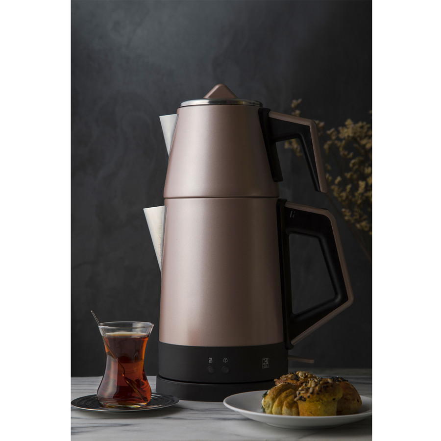 Emsan Bella Gusto Susuz Çalışma Emniyetli Elektrikli Çay Makinesi Golden Pink