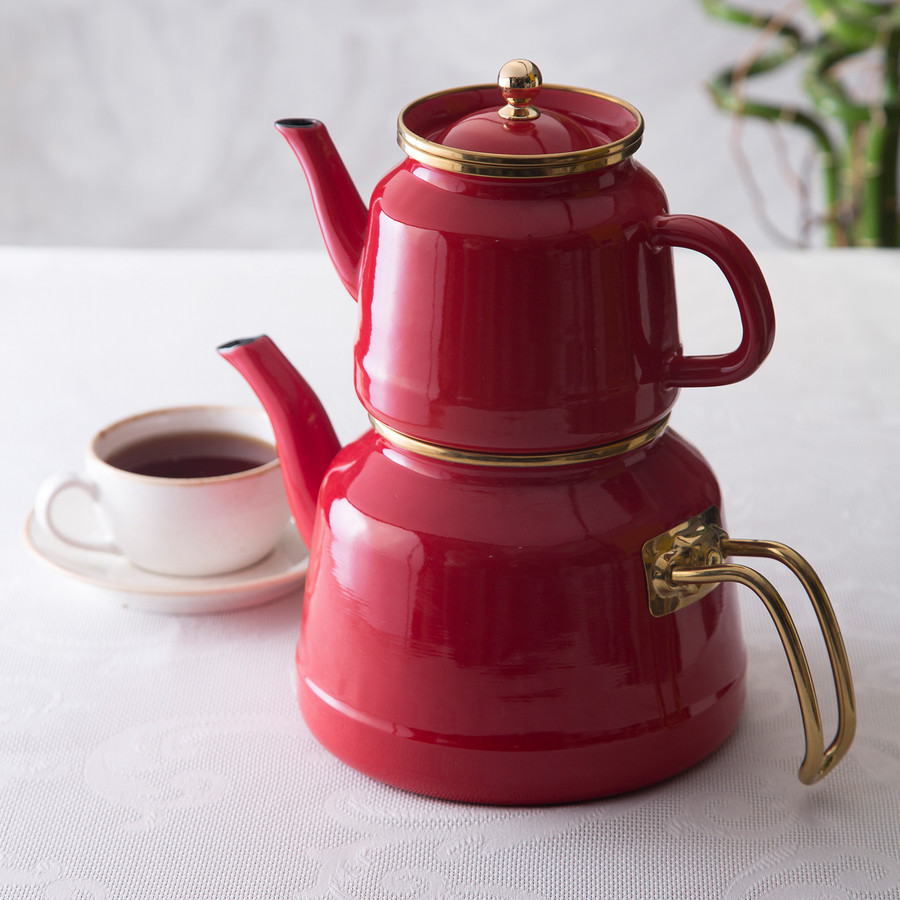 Emsan Troy İndüksiyon Tabanlı Emaye Çaydanlık Takımı Kırmızı