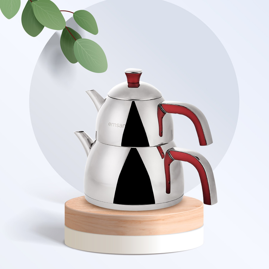 Emsan Yudum İndüksiyon Tabanlı Soft Kırmızı Çaydanlık Takımı