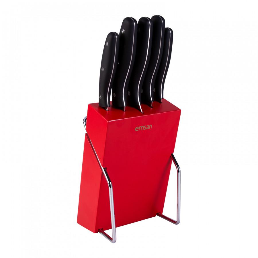 Emsan Yeni Mia 6 Parça Bıçak Seti Kırmızı