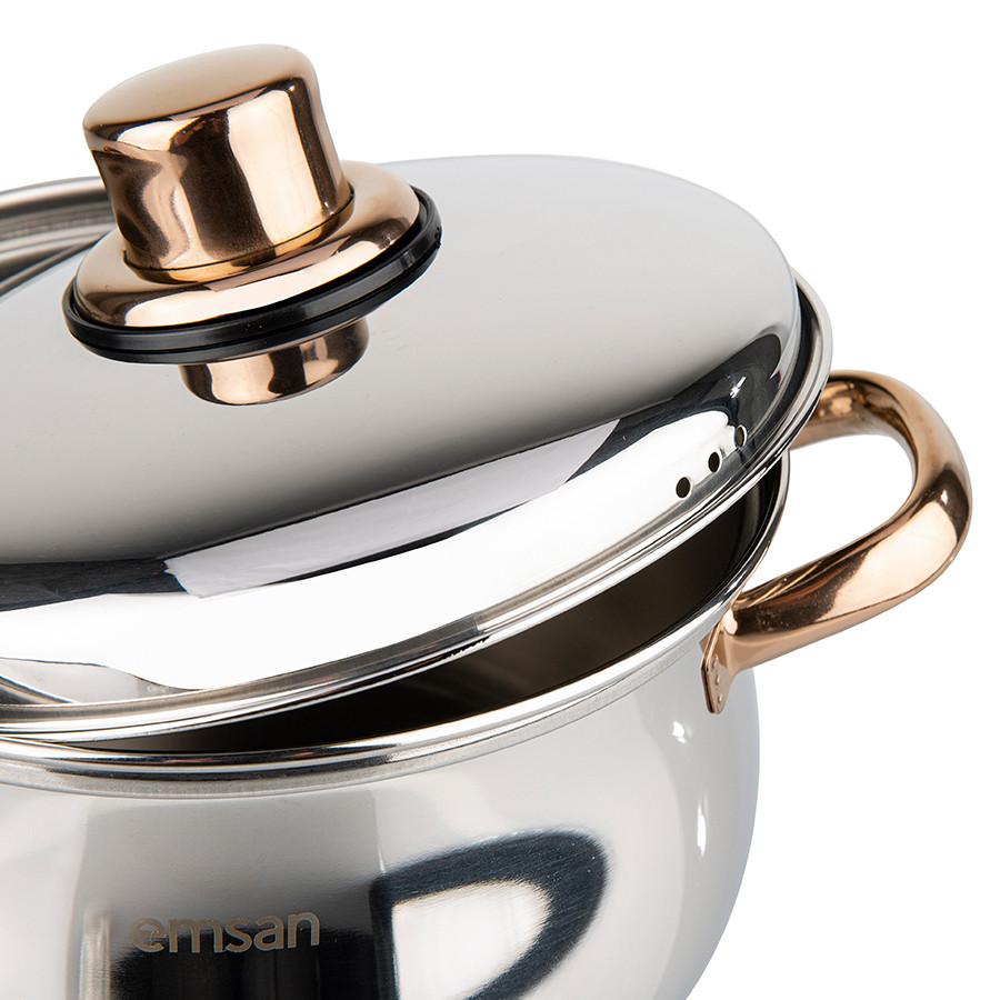 Emsan Azure İndüksiyon Tabanlı 6 Parça Titanyum Çelik Tencere Seti Rose Gold