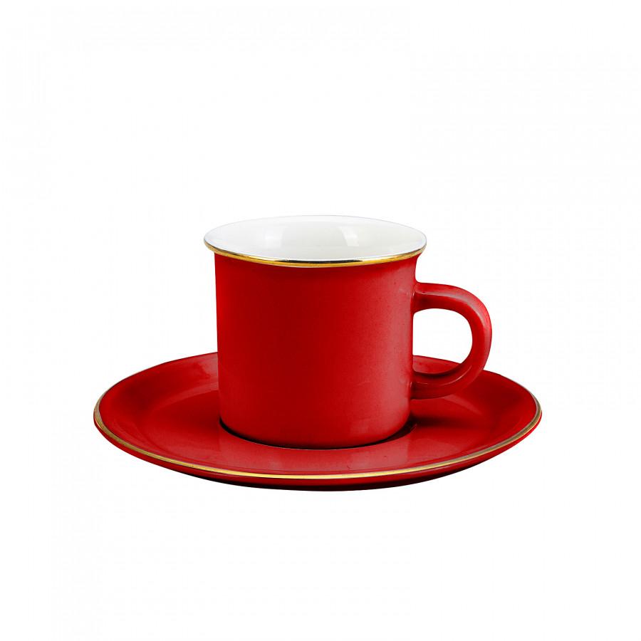 Emsan Kısmet Kırmızı 6 Kişilik Kahve Fincan Takımı