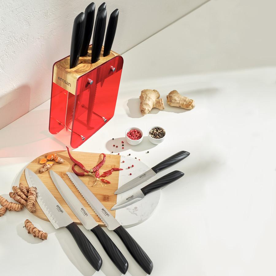 Emsan Kumsal Kırmızı 6 Parça Standlı Bıçak Seti
