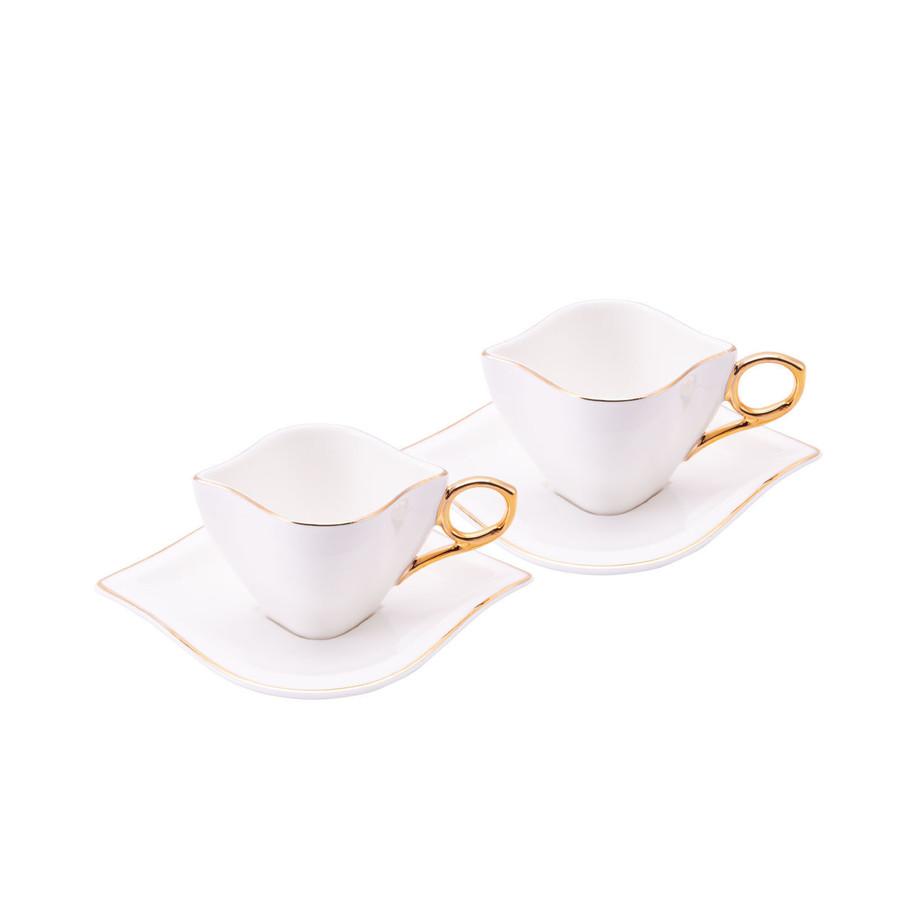 Emsan Sonsuz Aşk 2 Kişilik Kahve Fincan Takımı Beyaz Gold