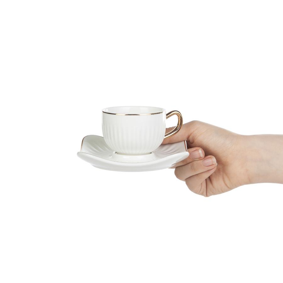 Emsan Nasip Beyaz 2 Kişilik Kahve Fincan Takımı