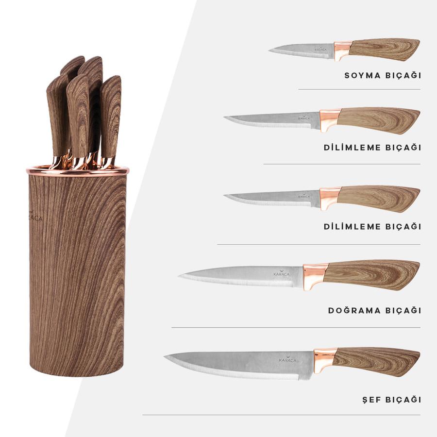 Karaca Wave Brown 6 Parça Bıçak Seti