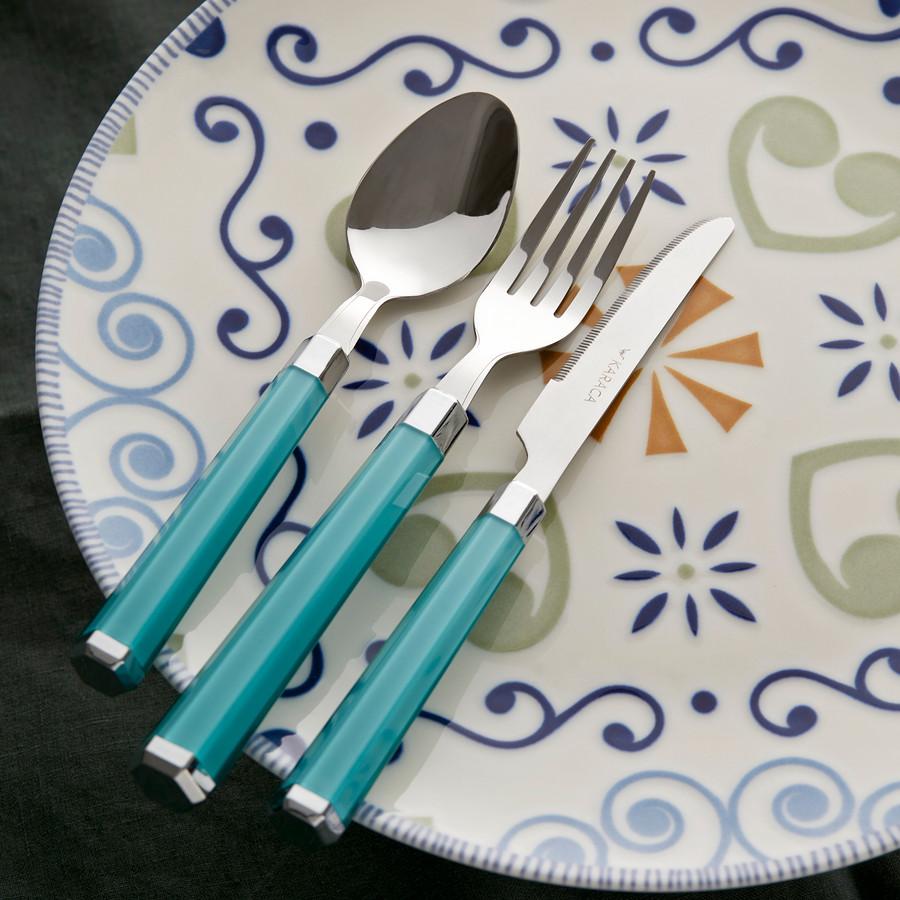 Karaca Freya Yeşil 18 Parça 6 Kişilik Çatal Kaşık Bıçak Seti