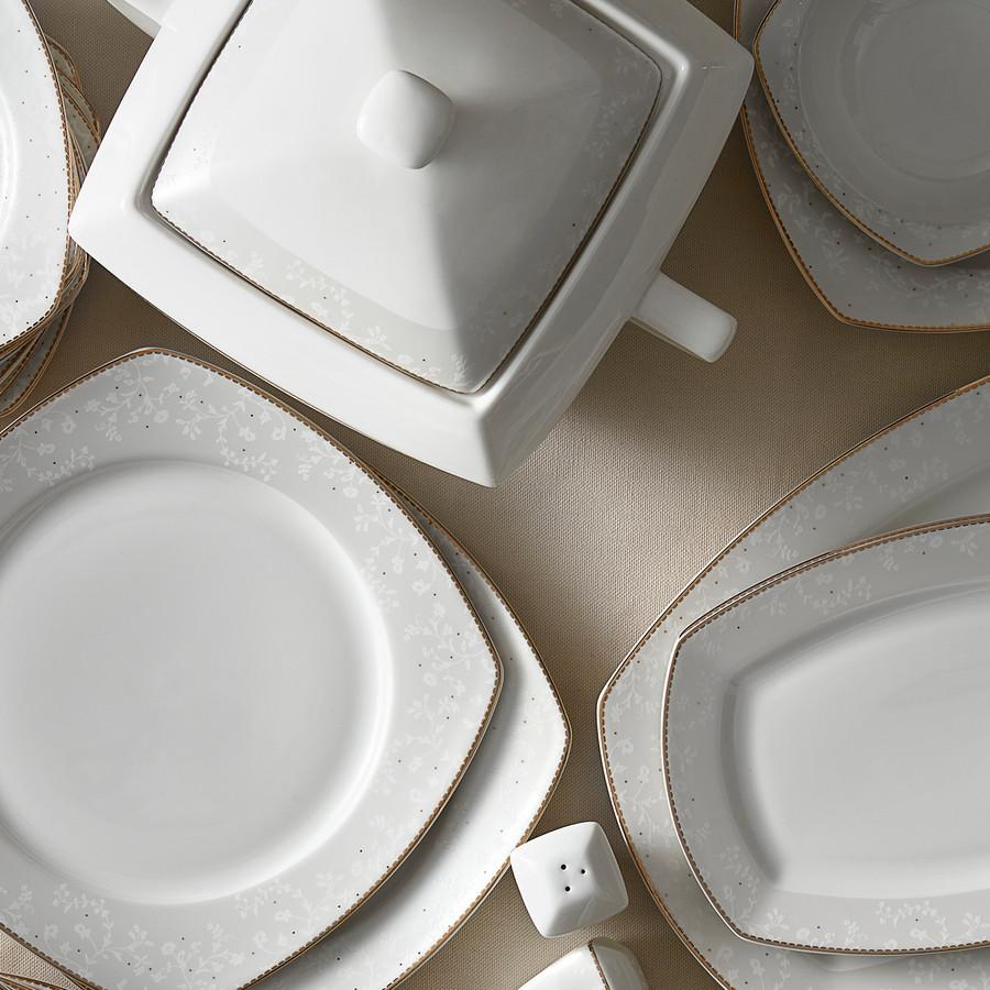 Karaca Esther Gold 60 Parça 12 Kişilik Yemek Takımı Kare