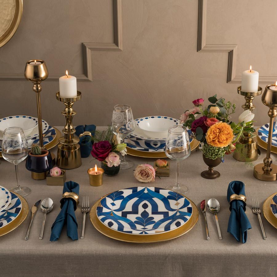 Karaca Fine Pearl Azur 62 Parça 12 Kişilik İnci Yemek Takımı