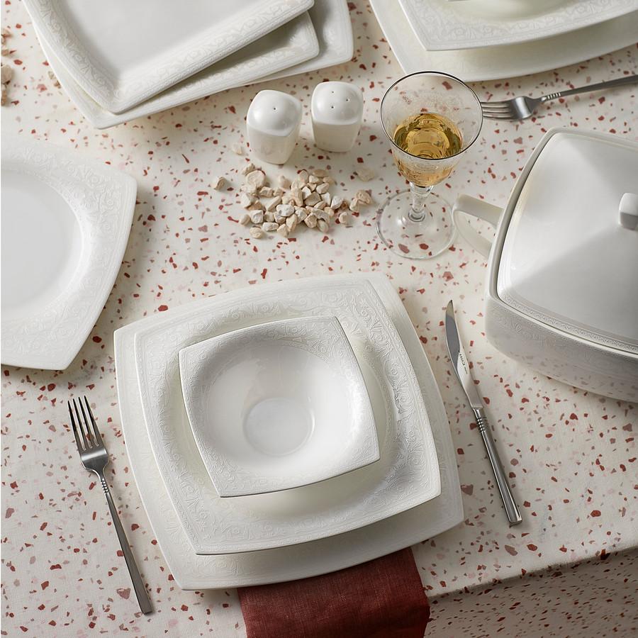 Karaca Fine Pearl Roma 62 Parça 12 Kişilik İnci Yemek Takımı