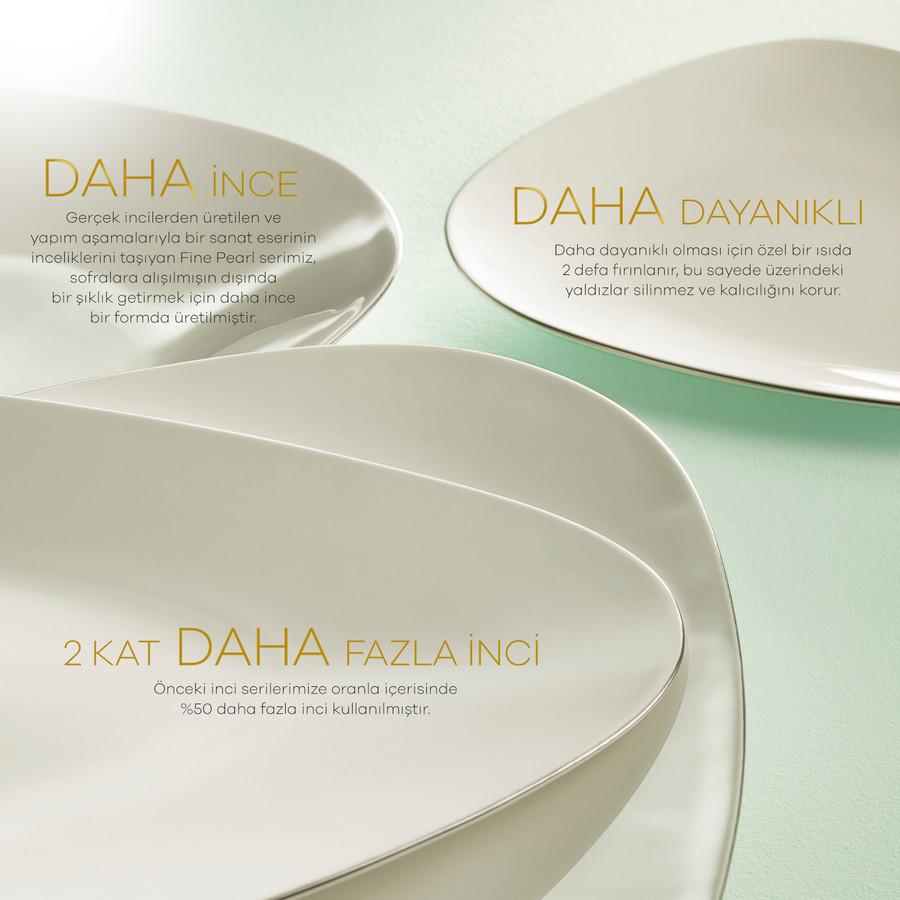 Karaca Fine Pearl Extra Trio Platin 62 Parça 12 Kişilik İnci Yemek Takımı